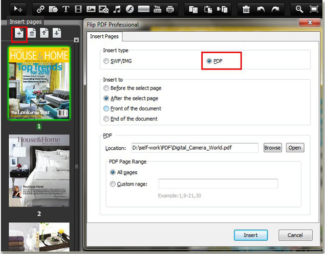 Add Another PDF To Flip Book By Flip PDF Professional