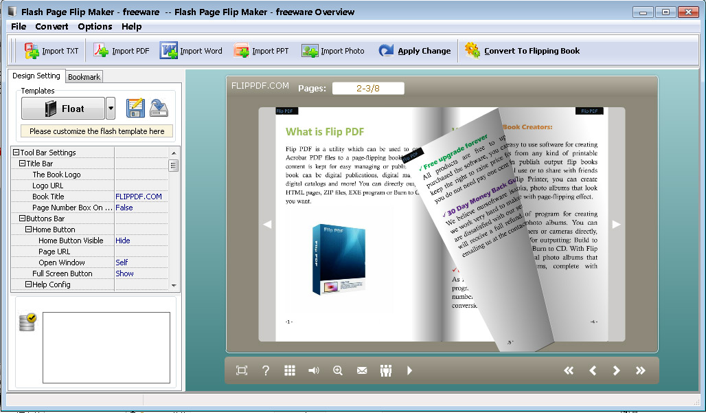 Flash Page Flip Maker - freeware full screenshot