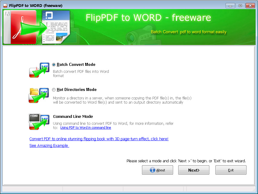 Flip PDF to Word - Freeware full screenshot