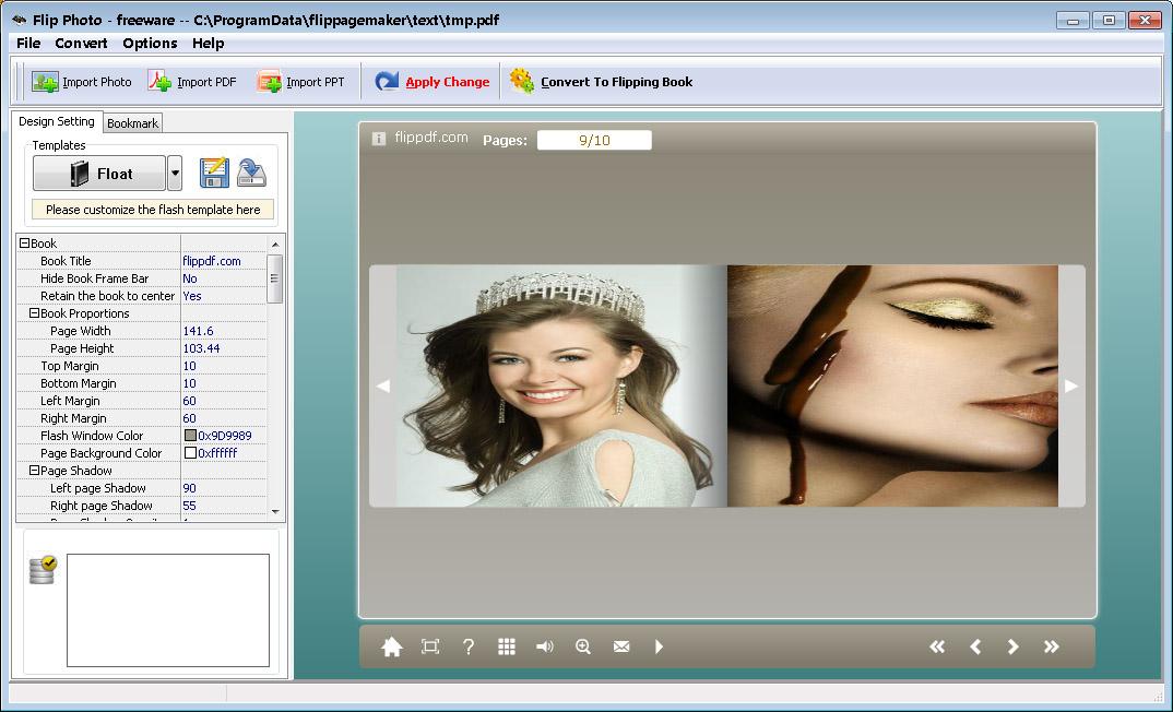 screenshot of pdf to flash converter