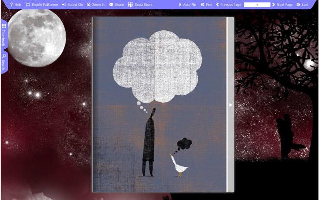 Flash flip book theme of moon full screenshot