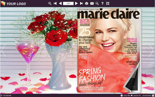 Windows 7 Page Flip Book Template Rose Style 1.0 full